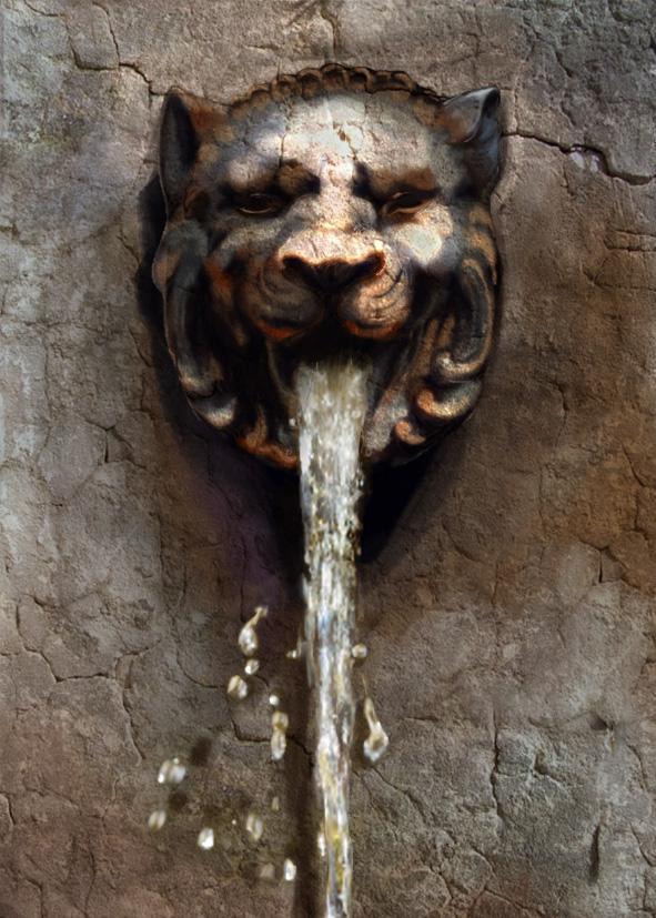 lion fountain illustration digital painting