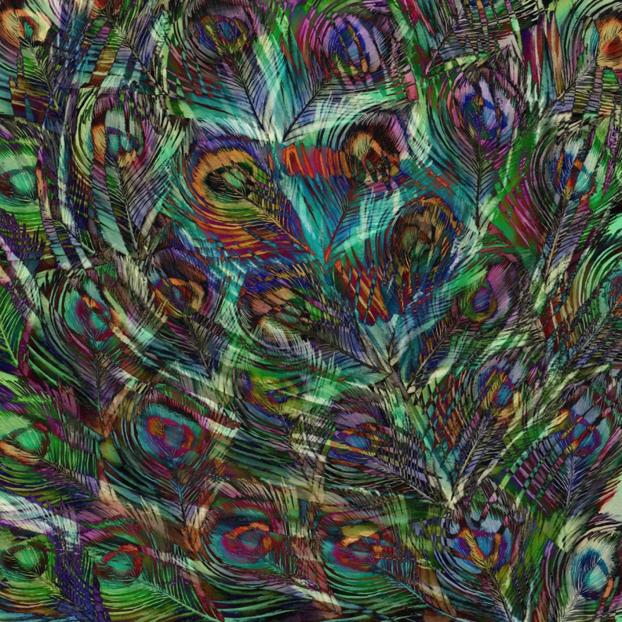 Peacock feather patter - ink painting and digital layering