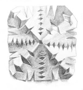 Graphite drawing of paper snow flake (2014)