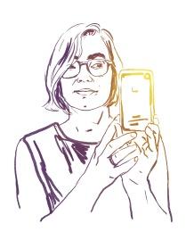 Portrait of illustrator Maija Hurme, for the FIBUL web page (2014)