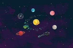 Space background (X-libris 2016-2017)