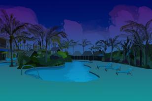 Tropical scene background (X-libris 2016-2017)