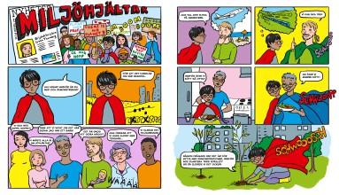 Comic about climate activism, for a children's school book, Schildts & Söderströms, 2019.