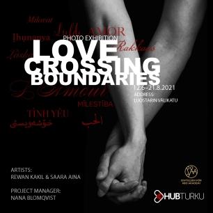 Flyer for the exhibition Love crossing boundaries, summer 2021, Turku